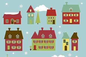 Winter Village Vectors and Clipart
