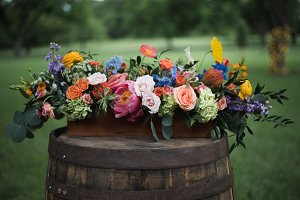 Rustic Colorful Wedding Flowers