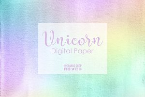 Unicorn pastel watercolor pattern