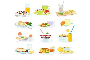 Breakfast vector morning food