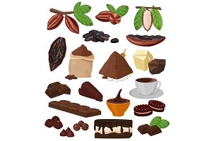 Chocolate vector cartoon cocoa choco