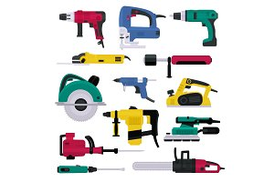 Power tools vector electrical drill
