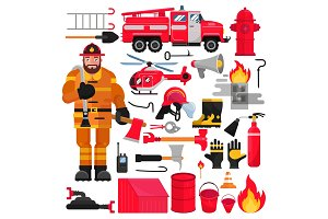 Firefighter vector firefighting
