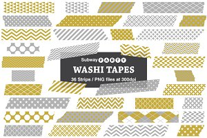 Gold & Silver Gray Washi Tape Strips