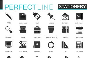 Black office stationery icons