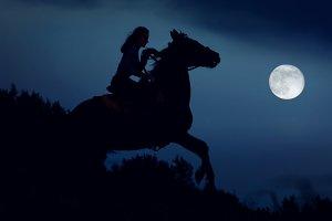 Fantasy moonlight, night rider