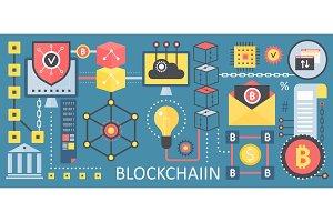 Crypto bitcoin blockchain concept