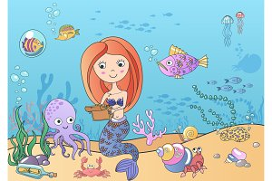 Cute little mermaid underwater