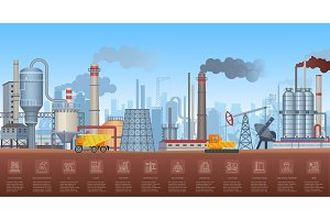 Industrial infographic with factory