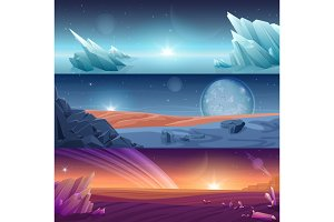 Fantastic alien planet landscapes