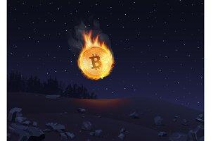 Bitcoin in fire falling