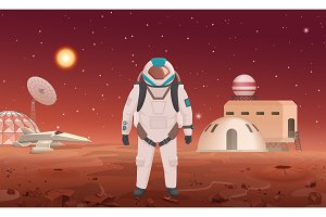 astronaut standing near colony