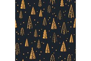 Christmas gold tree seamless pattern