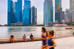 People running  promenade Singapore