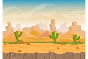 Cartoon sand and stone rocks desert