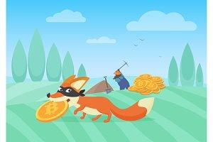 Fox thief stealing bitcoins