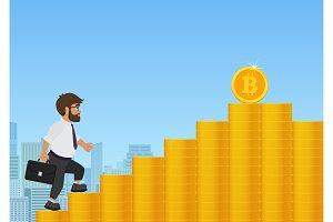 Businessman walking to bitcoin