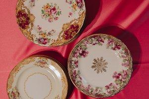 Vintage Plates on Pink Table