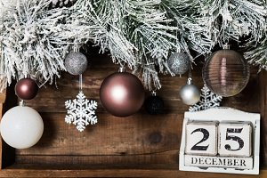 Christmas Frame from Snowy Xmas tree