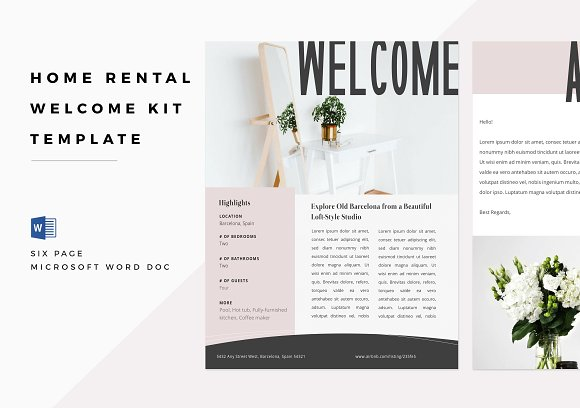 home rental welcome kit word doc brochure templates creative