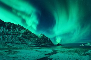 Winter landscape with northen lights