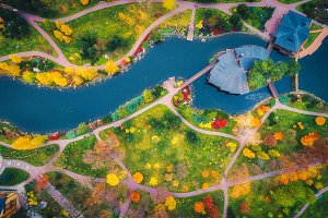 Aerial view of amazing autumn park