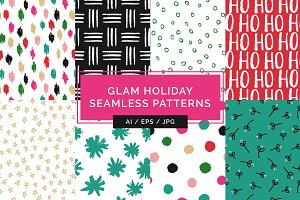 Glam Holiday Seamless Patterns