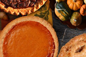 Pumpkin, Pecan and Apple Pies for Th