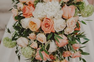 Vintage Peach Wedding Bouquet