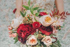 Vintage Red & Peach Wedding Bouquet