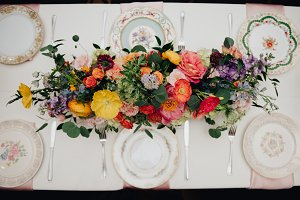Colorful Vintage Wedding Table