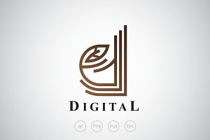 Digital Leaf Logo Template