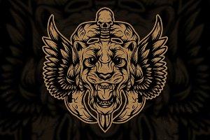 Tiger skull wings logo