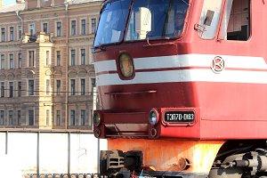 Red locomotive cabin