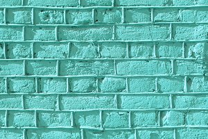 Turquoise bricks wall texture