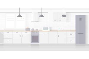Modern new light interior of kitchen
