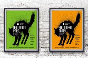 Black Cat Halloween Poster