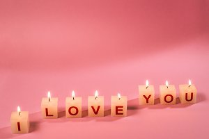 Text I Love You on candle