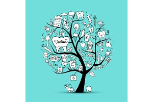 Dental clinic tree, sketch for your