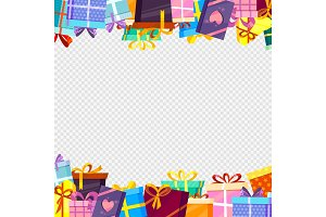 Frame with gifts. Colored greetings