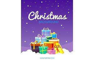 Christmas greetings poster. Snow