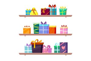 Gifts on shelves. Greeting colored