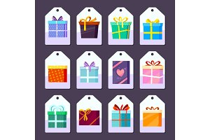 Tags gifts. Commodity advertising