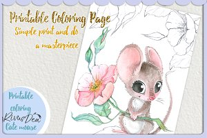 Printable coloring page with mouse