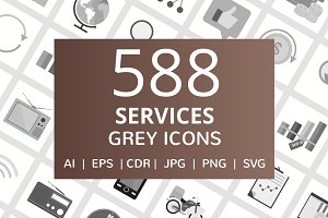 588 Services Flat Greyscale Icons
