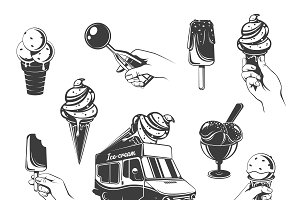 Vintage Ice Cream Elements Set