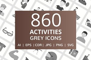 860 Activities Flat Greyscale Icons