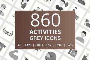 860 Activities Flat Greyscale Icons