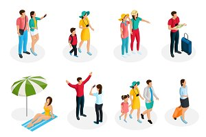 Isometric Travelers Characters Set