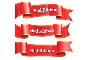 Ribbons set. Realistic Red Glossy pa